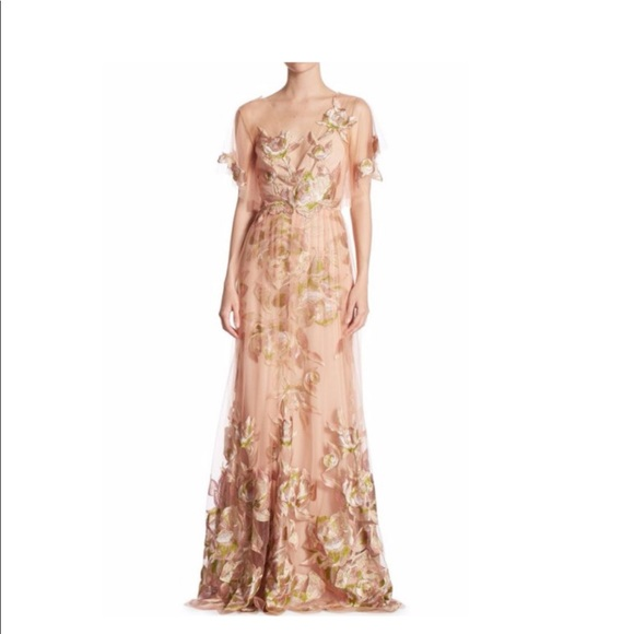 d79e53ebed6 Marchesa Dresses | Notte Blush Floral Embroidered Tulle Gown | Poshmark